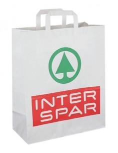 Balti KRAFT popieriniai maišeliai su plokščiomis rankenomis