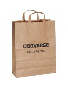 Ekologiški KRAFT popieriniai maišeliai su plokščiomis rankenomis