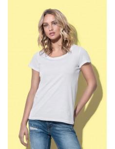 Moteriški marškinėliai platesne apykakle