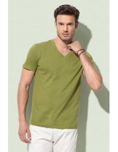 Vyriški organiniai marškinėliai V formos kaklu