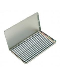 Pieštukai metalinėje dežutėje