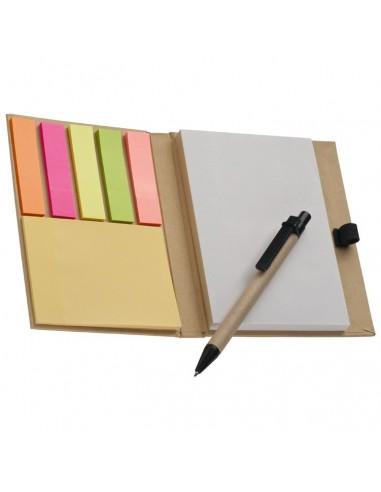 Bloknotas su lipniais lapeliais ir rašikliu