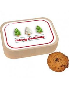 Avižiniai sausainiai medinėje dėžutėje