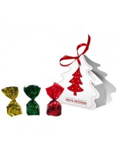 Saldainių dėžutė - Kalėdų eglutė su kaspinėliu