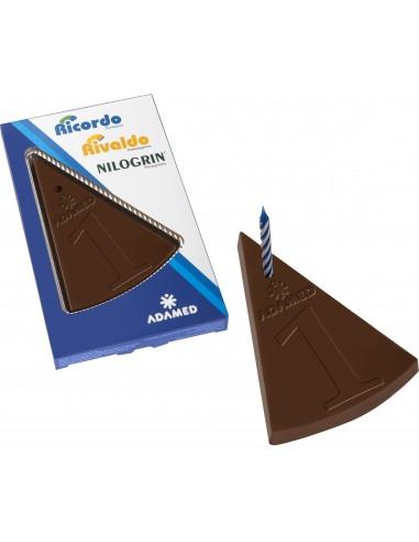 Šventinio torto gabalėlio formos šokoladas